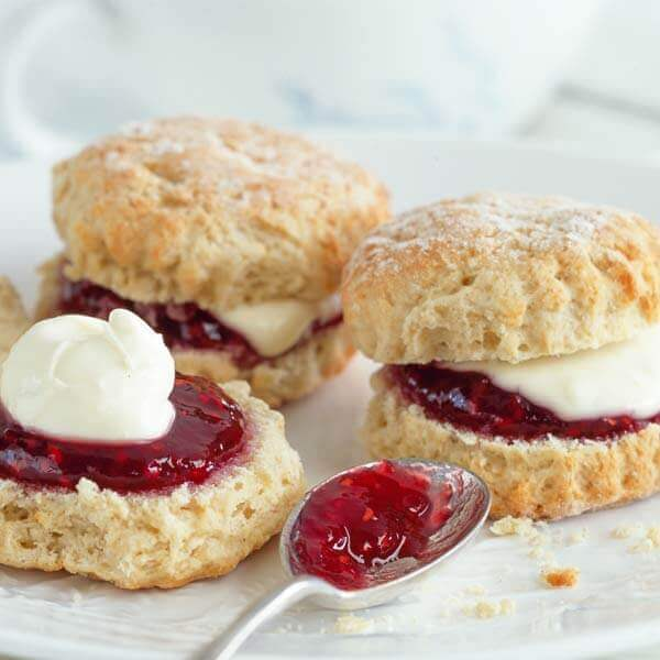 Homemade scones and clotted cream with jam